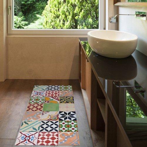 Alfombra vintage de vinilo mosaico