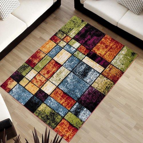 alfombra vintage multicolor estampado cuadrado alfombras vintage - Alfombras Vintage