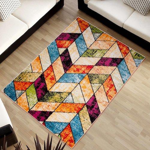 Alfombra vintage multicolor estampado geométrico