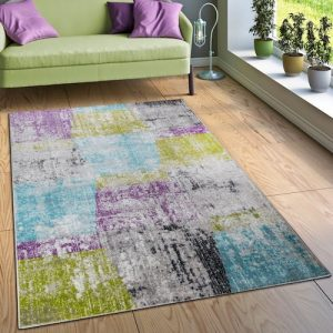 Alfombra vintage rectangular multicolor